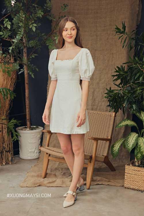 Đầm cổ vuông tay phồng - đầm công chúa trẻ trung mang lại sự sang trọng