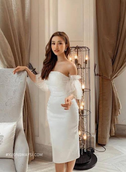 Đầm trắng body kết hợp kiểu dáng trễ vai cực kỳ sang trọng và gợi cảm dành cho các quý cô của chúng ta