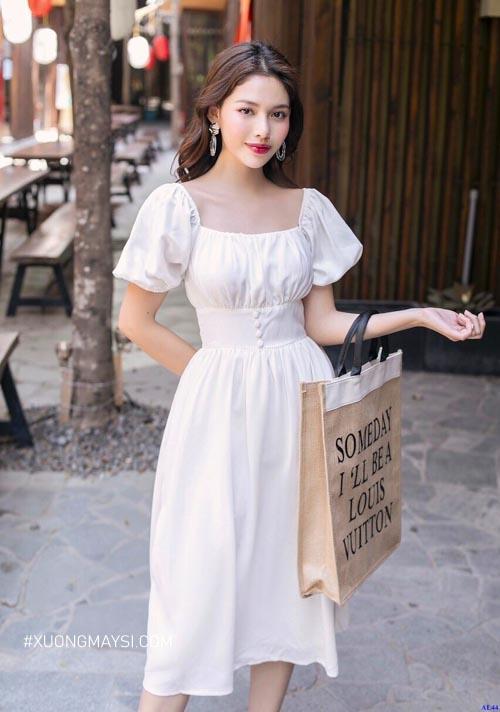Đầm trắng tay phồng cực kỳ xinh xắn, đáng yêu dành cho các bạn nữ chúng ta