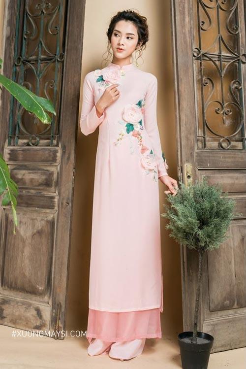 Chiếc áo dài cưới màu hồng phấn khiến bao nàng mê mẩn