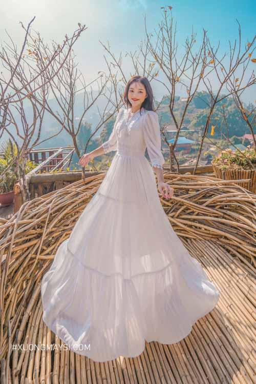 Đầm trắng dài dự tiệc cao cấp mang đến vẻ đẹp của sự sang trọng