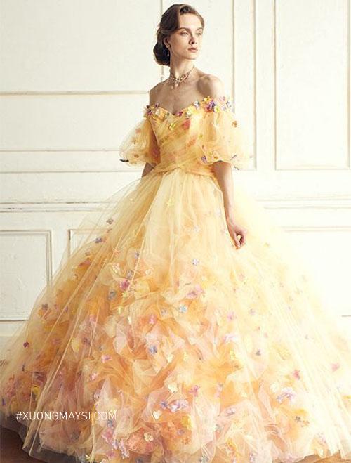 Váy cưới màu vàng vương giả, ấm áp cho nàng nữ hoàng của mặt trời trong ngày cưới