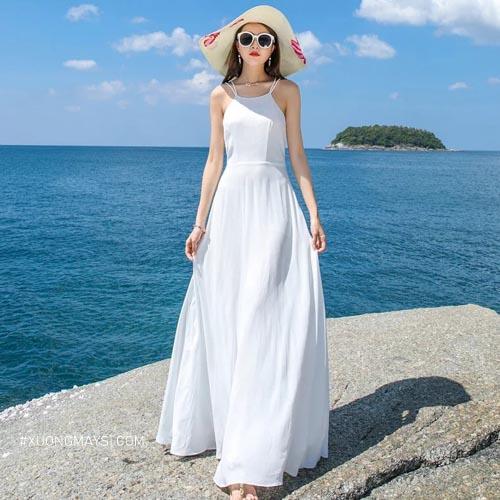 Đầm trắng dài kiểu dáng 2 dây thoái mái, thời trang cho các bạn nữ
