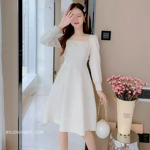 Đầm trắng cổ vuông - kiểu dáng đặc sắc phù hợp đối với các bạn nữ Việt Nam