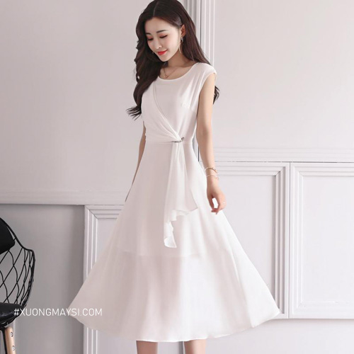Đầm trắng xoè cao cấp với thiết kế mới lạ phần thắt lưng dành cho các bạn nữ