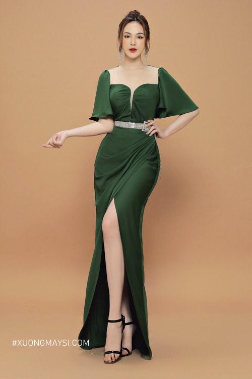 Đầm cổ vuông xẻ tà thu hút, mang vẻ đẹp quý phái cho các cô nàng chúng ta