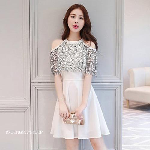 Đầm trắng dự tiệc Hàn Quốc với một số chi tiết đáng yêu được thiết kế trên chiếc đầm dành cho nữ