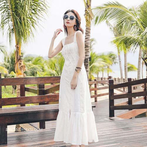 Phối đầm trắng đi biển cùng Sunglasses (kính mát) vô cùng thời trang và cá tính dành cho các quý cô