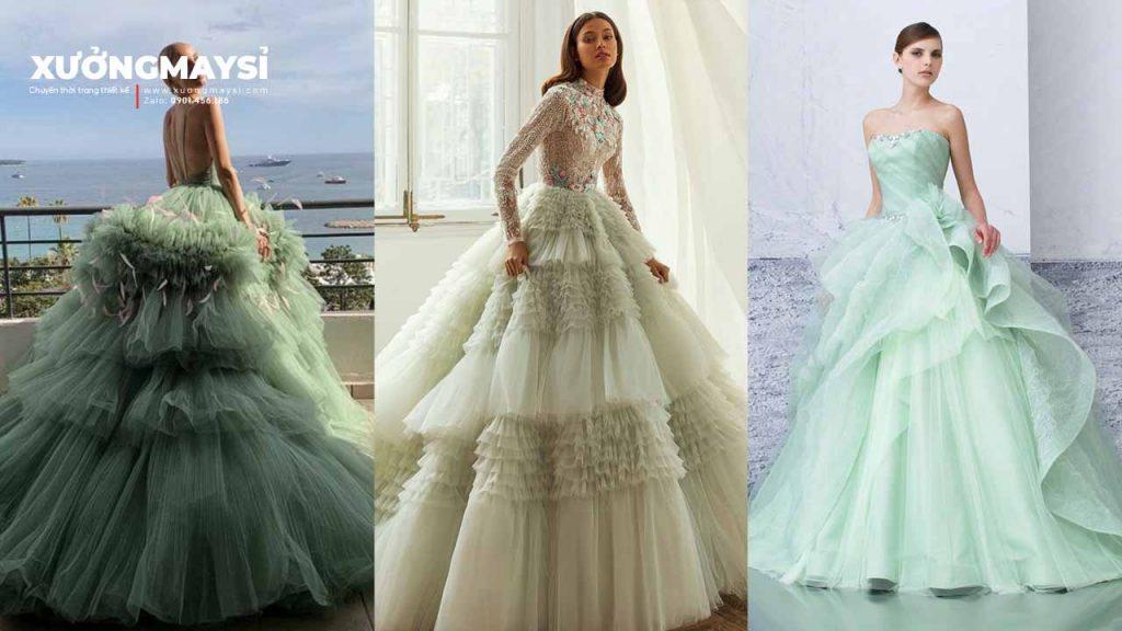 Điểm Qua #12 Mẫu Váy Cưới Màu Xanh Bạc Hà Cuốn Hút